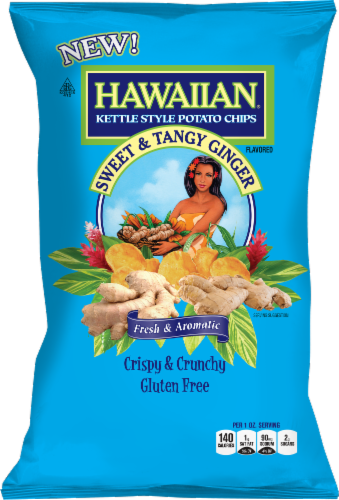 Hawaiian Sweet & Tangy Ginger Flavored Crispy & Crunchy Kettle Style Potato Chips Perspective: front