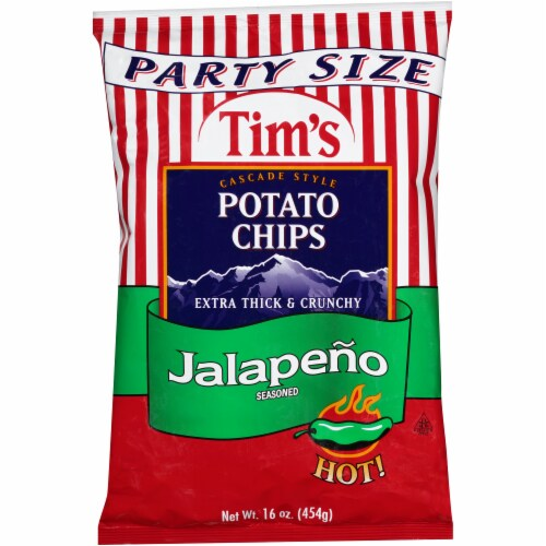 Tim's Cascade Style Hot Jalapeno Seasoned Potato Chips Party Size Perspective: front