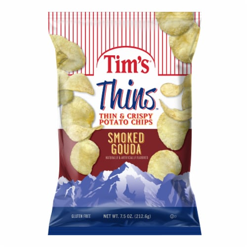 Tim's Thins Smoked Gouda Thin & Crispy Potato Chips Perspective: front