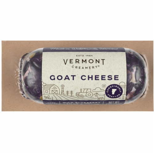 Vermont Creamery Wild Blueberry Lemon & Thyme Goat Cheese Log Perspective: front