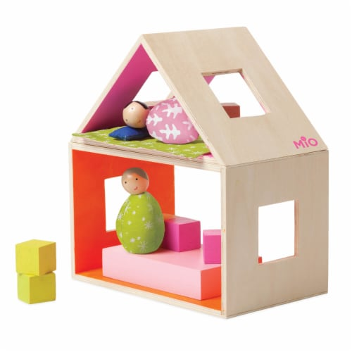 Manhattan Toy MIO Sleeping Place + 2 Peg Dolls Montessori Style Wooden Building Playset Perspective: front