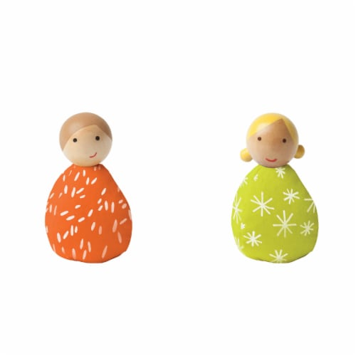 Manhattan Toy MiO Bean Bag People Imaginative Play Character Peg Dolls - Orange & Green Perspective: front