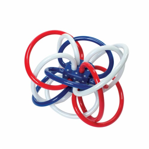 Manhattan Toy Winkel Red, White & Blue Rattle and Sensory Teether Perspective: front