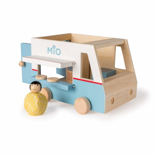 Manhattan Toy MiO Food Truck Vehicle + 1 Bean Bag Person Peg Doll Perspective: front