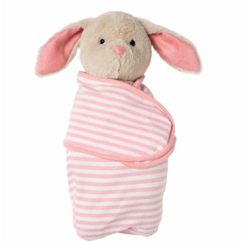 """Manhattan Toy Swaddle Baby Bunny 11"""" Plush Toy with Swaddle Blanket Perspective: front"""