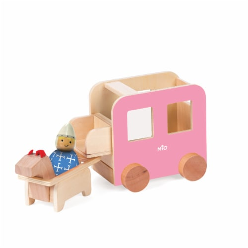 Manhattan Toy MiO Carriage + Horse + 1 Peg Doll Montessori Style Wooden Castle Accessory Perspective: front