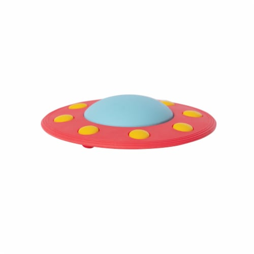 Manhattan Toy Space Themed Flying Saucer Silicone Teether Perspective: front
