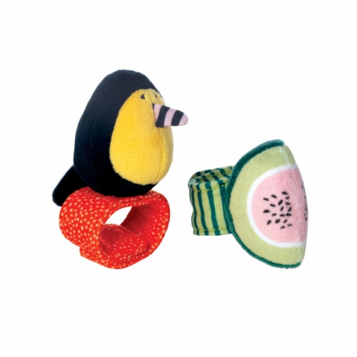 Manhattan Toy Fruity Paws Watermelon and Bee Baby Wrist Rattle and Foot Finder Set Perspective: front