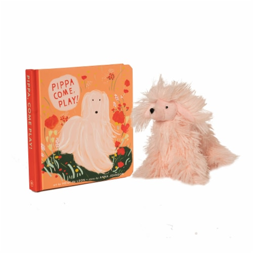 Manhattan Toy Pippa Come Play Baby & Toddler Board Book + Afghan Stuffed Animal Dog Gift Set Perspective: front