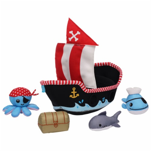 Manhattan Toy Neoprene Pirate Ship 5 Piece Floating Spill n Fill Bath Toy Perspective: front