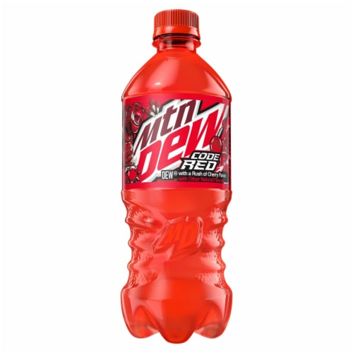 Mountain Dew Code Red Soda 20 oz Perspective: front