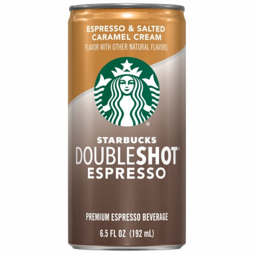 Starbucks Doubleshot Espresso & Salted Caramel Cream Premium Espresso Beverage Perspective: front