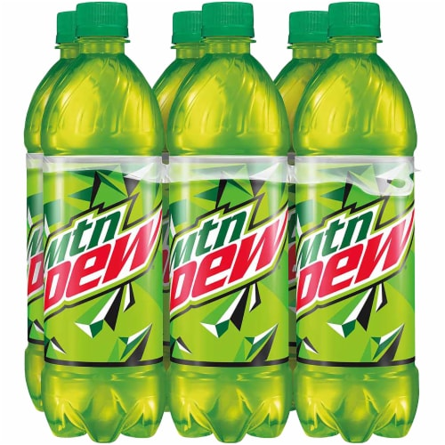 Mountain Dew Soda 6 Pack Bottles Perspective: front