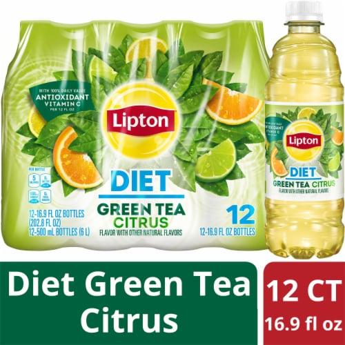 Lipton Diet Citrus Iced Green Tea Perspective: front