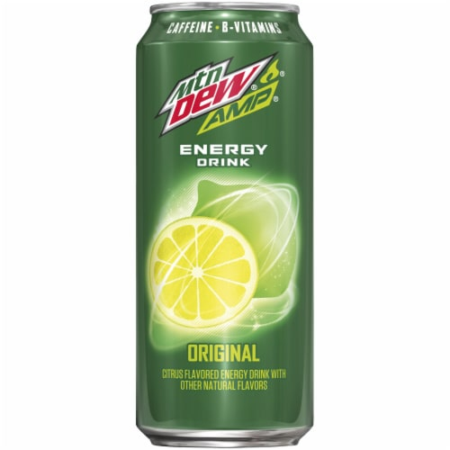 Mountain Dew Amp Original Energy Drink Perspective: front
