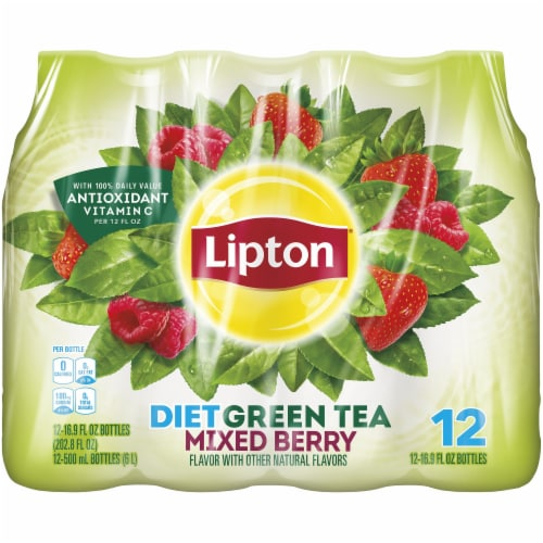 Lipton Diet Mixed Berry Iced Green Tea 12 Count Bottles Perspective: front