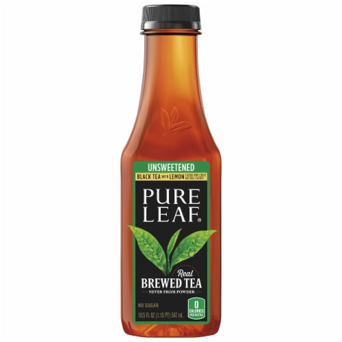 Pure Leaf Unsweetened Black Tea with Lemon Brewed Perspective: front