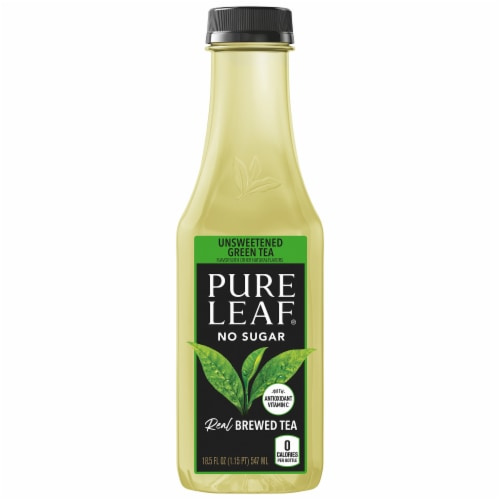 Pure Leaf Unsweetened Green Brewed Iced Tea Bottle Perspective: front