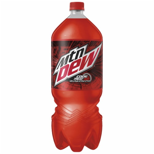 Mountain Dew Code Red Soda Bottle Perspective: front