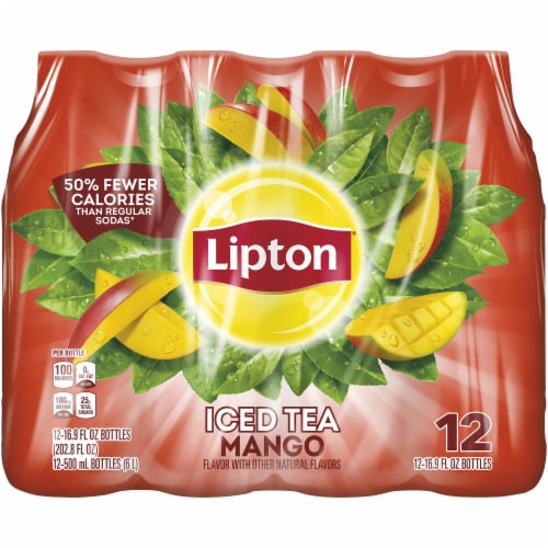 Lipton Mango Iced Tea 12 Count Bottles Perspective: front