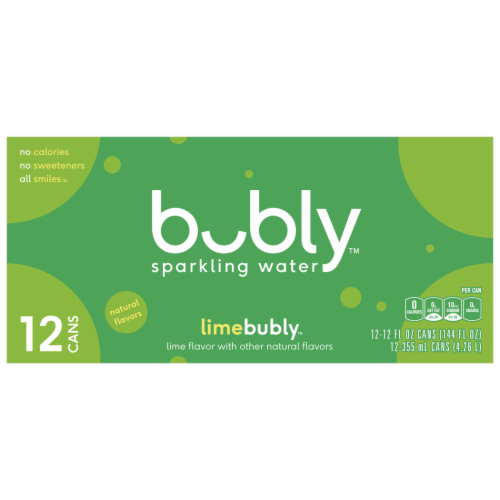bubly Sparkling Water Lime 12 oz 12 Pack Perspective: front
