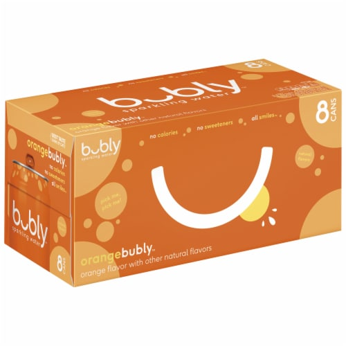bubly Sparkling Water Orange 8 Pack Perspective: front