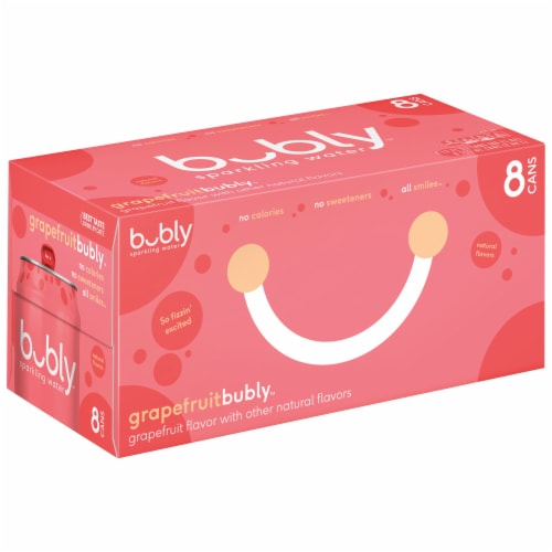 bubly Sparkling Water Grapefruit 8 Pack Perspective: front