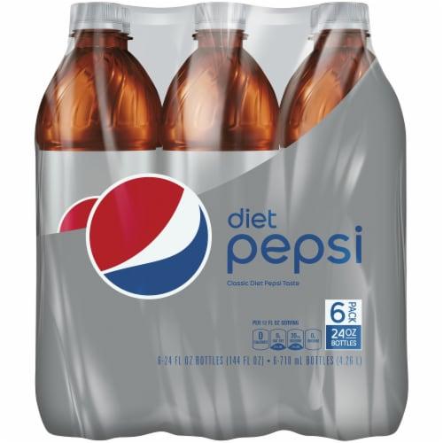 Diet Pepsi Cola Soda 6 Pack Bottles Perspective: front