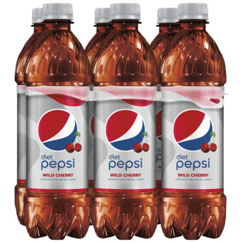 Diet Pepsi Cola Wild Cherry Soda 6 Pack Bottles Perspective: front