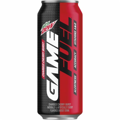 Mountain Dew Game Fuel Charged Cherry Burst Energy Drink Perspective: front