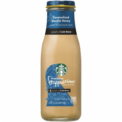 Starbucks Frappuccino Carmelized Vanilla Honey with Cold Brew Iced Coffee Drink Perspective: front