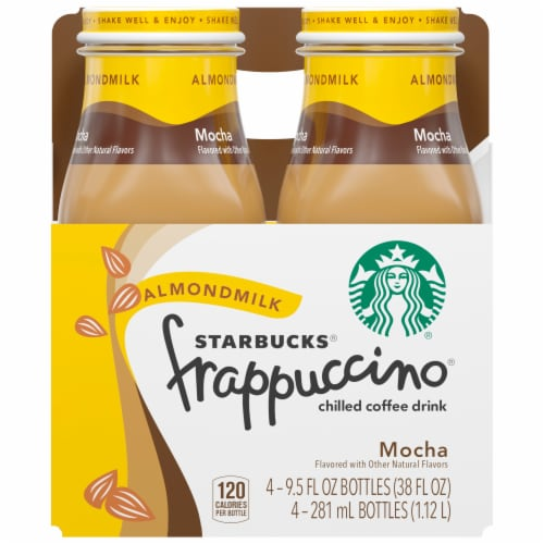 Starbucks Frappuccino Mocha Almond Milk Iced Chilled Coffee Drink Perspective: front