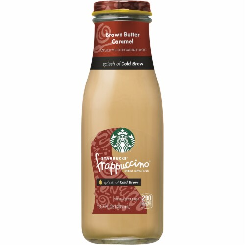 Starbucks® Frappuccino Brown Butter Caramel with Cold Brew Iced Coffee Drink Perspective: front