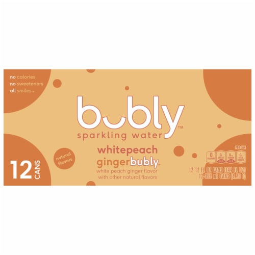 bubly White Peach Ginger Sparkling Water Perspective: front
