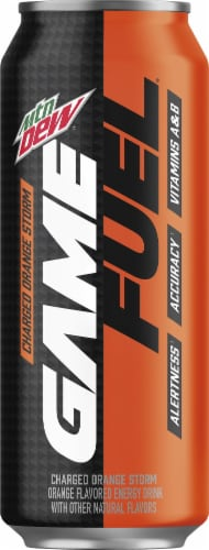 Mountain Dew Game Fuel Charged Orange Storm Energy Drink Perspective: front