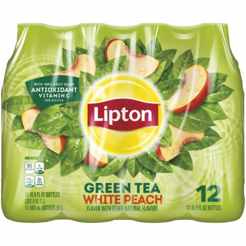 Lipton White Peach Iced Green Tea Perspective: front