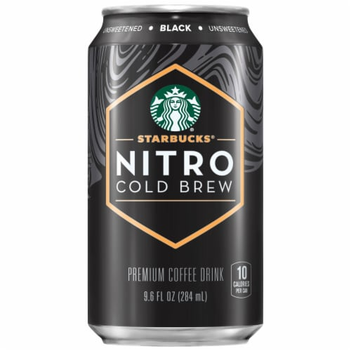 Starbucks Nitro Cold Brew Black Unsweetened Premium Iced Coffee Drink Perspective: front
