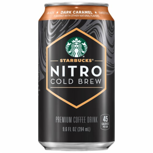 Starbucks Nitro Cold Brew Dark Caramel Premium Iced Coffee Drink Perspective: front