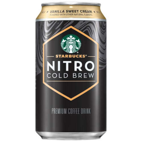 Starbucks Nitro Cold Brew Vanilla Sweet Cream Premium Iced Coffee Drink Perspective: front
