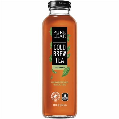 Pure Leaf Unsweetened Cold Brew Black Iced Tea Bottle Perspective: front