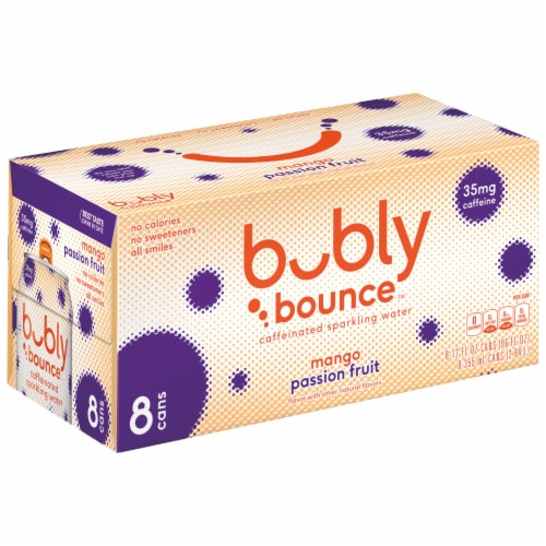 bubly Bounce Mango Passion Fruit Caffeinated Sparkling Water Perspective: front