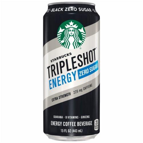 Starbucks Triple Shot Energy Zero Sugar Black Coffee Beverage Perspective: front
