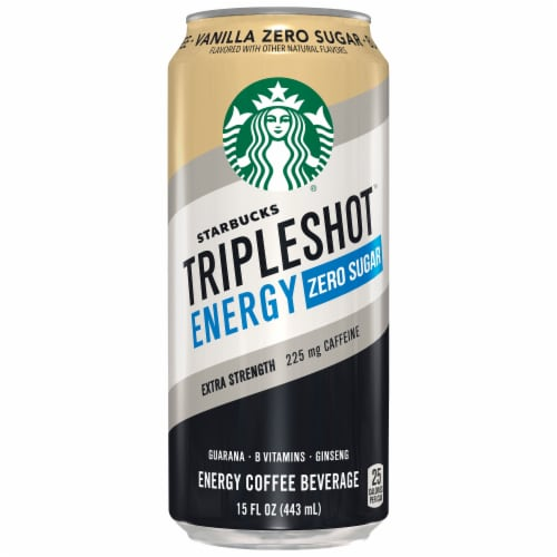 Starbucks Triple Shot Energy Zero Sugar Vanilla Coffee Beverage Perspective: front