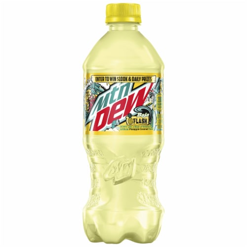 Mountain Dew Baja Flash Pineapple Coconut Flavored Soda Perspective: front