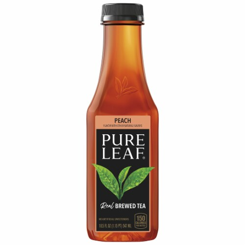 Pure Leaf Peach Brewed Iced Tea Bottle Perspective: front