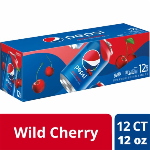 Pepsi Cola Wild Cherry Soda 12 Pack Perspective: front