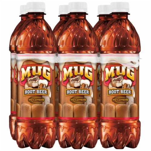 Mug Root Beer Caffeine Free Soda 6 Pack Bottles Perspective: front