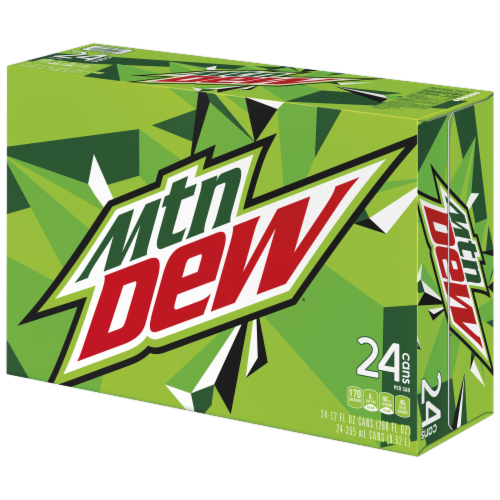 Mountain Dew Soft Drink 24 Pack Perspective: front