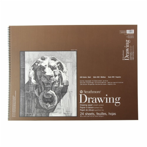 Strathmore Drawing 400 Series Smooth Surface Paper - 24 Sheets - Cream Perspective: front