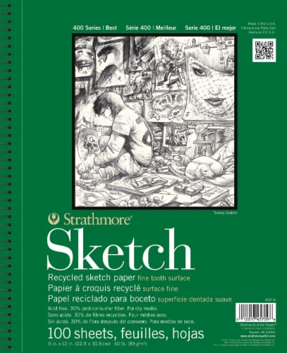 Strathmore 400 Series Recycled Sketch Paper - 100 Sheets - White Perspective: front